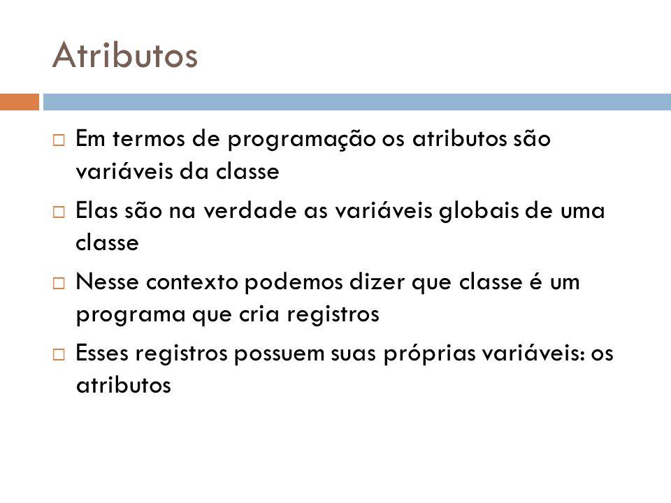 Atributos Em termos de programação os atributos são variáveis da classe. Elas são na verdade as variáveis globais de uma classe.