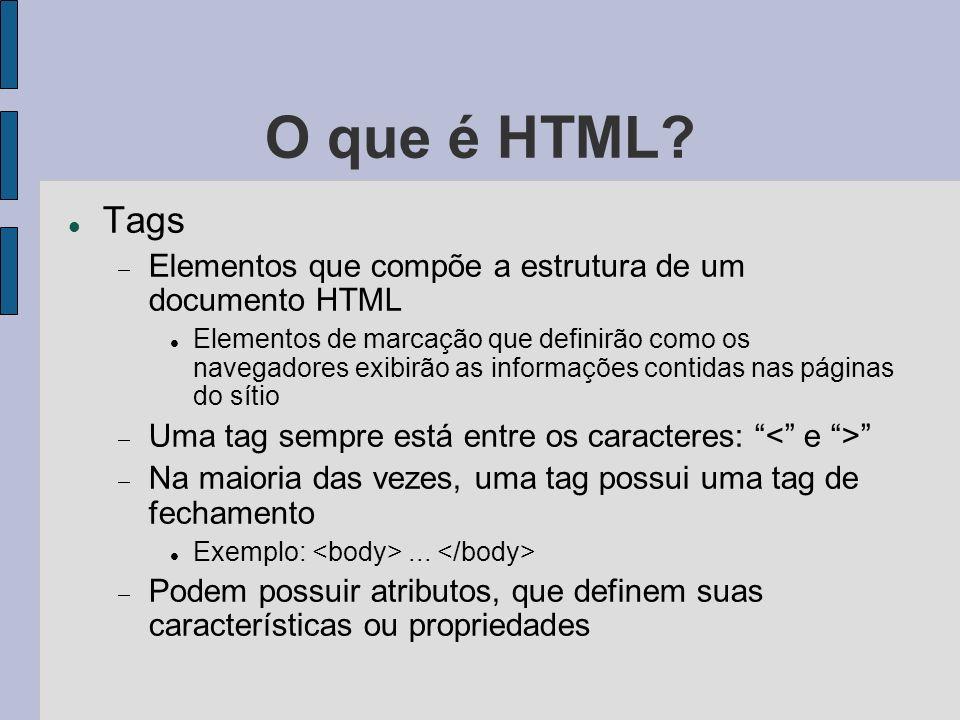 O que é HTML Tags. Elementos que compõe a estrutura de um documento HTML.