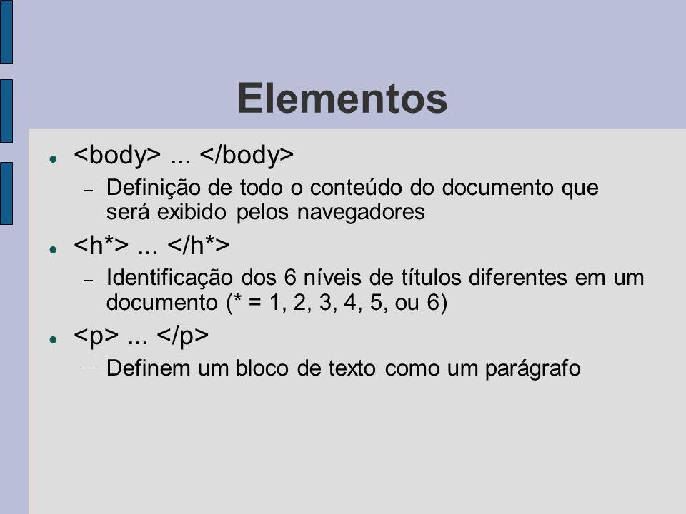 Elementos <body> ... </body> <h*> ... </h*>