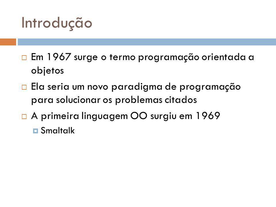 Introdução Em 1967 surge o termo programação orientada a objetos