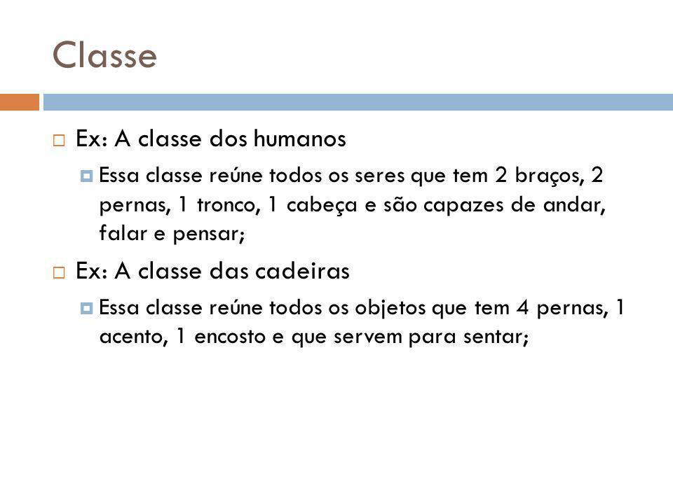 Classe Ex: A classe dos humanos Ex: A classe das cadeiras
