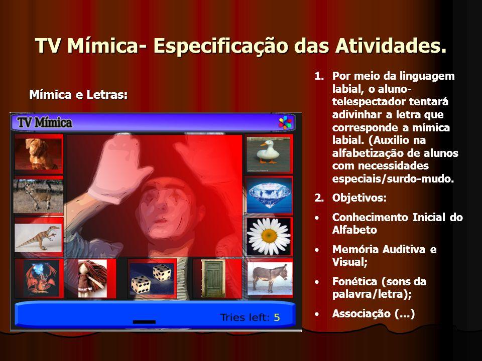 TV Mímica- Especificação das Atividades.