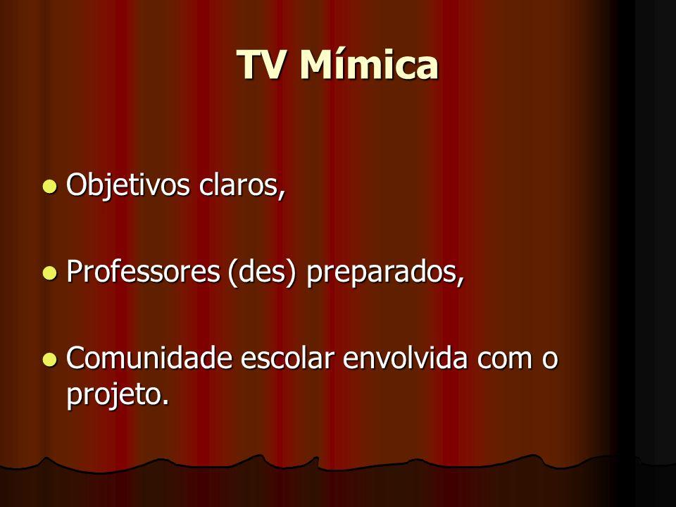 TV Mímica Objetivos claros, Professores (des) preparados,