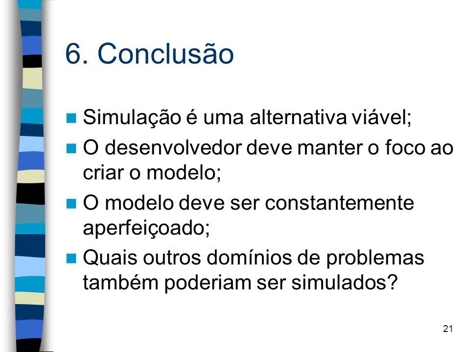 6. Conclusão Simulação é uma alternativa viável;