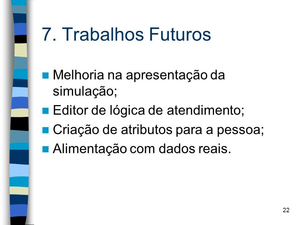 7. Trabalhos Futuros Melhoria na apresentação da simulação;
