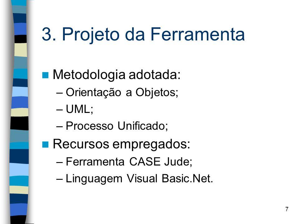3. Projeto da Ferramenta Metodologia adotada: Recursos empregados: