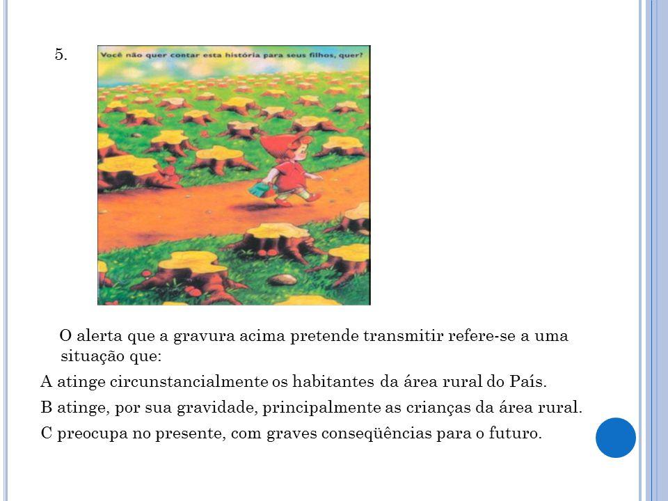 5. O alerta que a gravura acima pretende transmitir refere-se a uma situação que: A atinge circunstancialmente os habitantes da área rural do País.