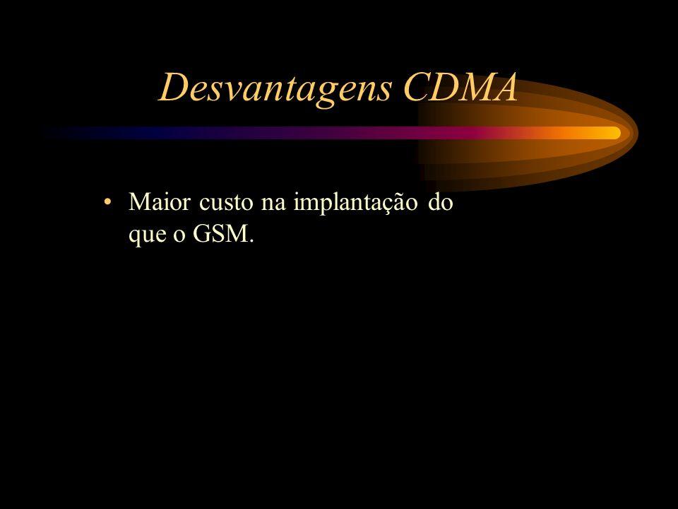 Desvantagens CDMA Maior custo na implantação do que o GSM.