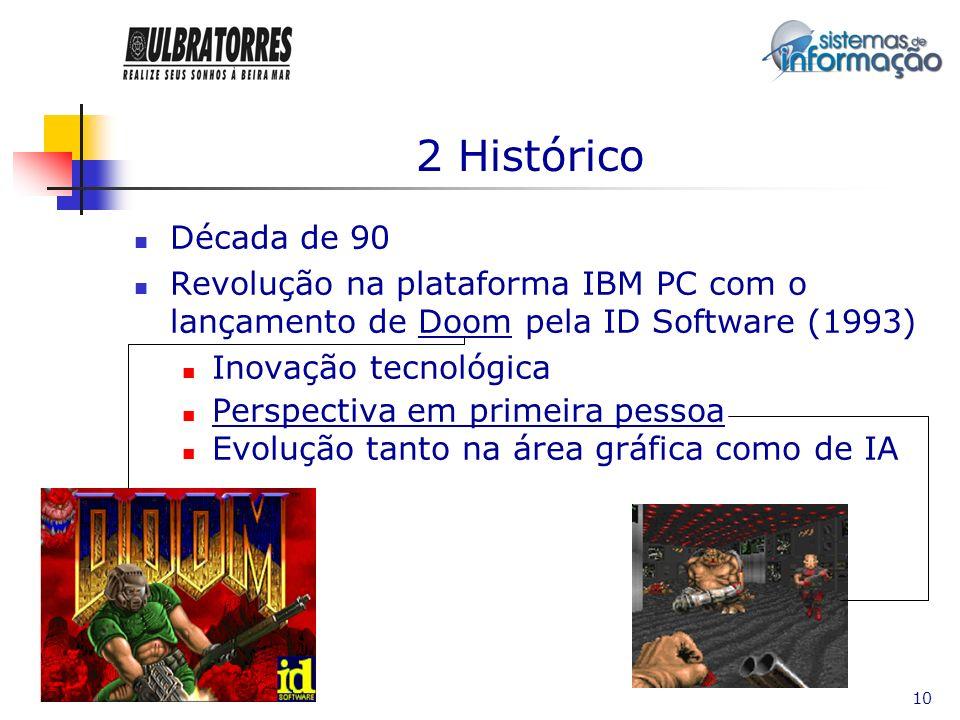 2 Histórico Década de 90. Revolução na plataforma IBM PC com o lançamento de Doom pela ID Software (1993)
