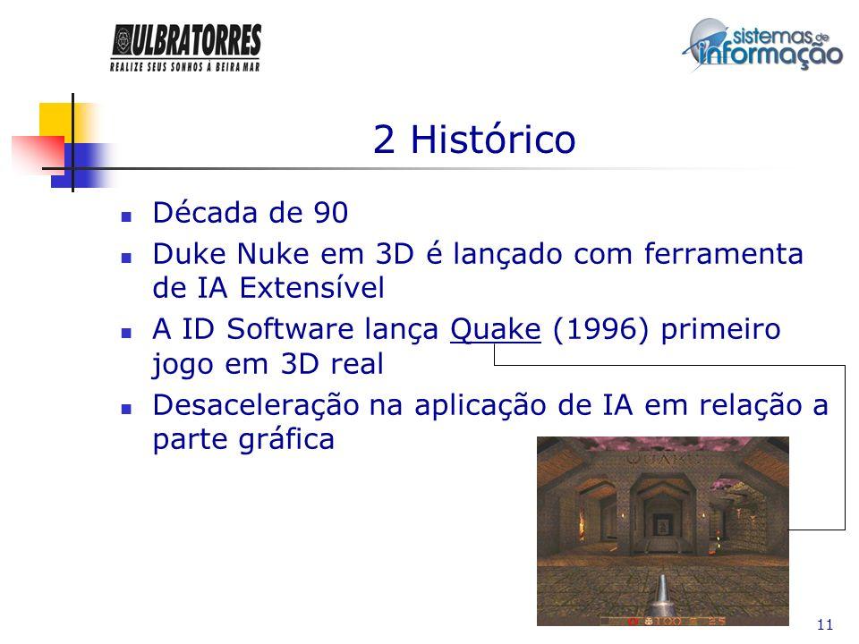 2 Histórico Década de 90. Duke Nuke em 3D é lançado com ferramenta de IA Extensível. A ID Software lança Quake (1996) primeiro jogo em 3D real.