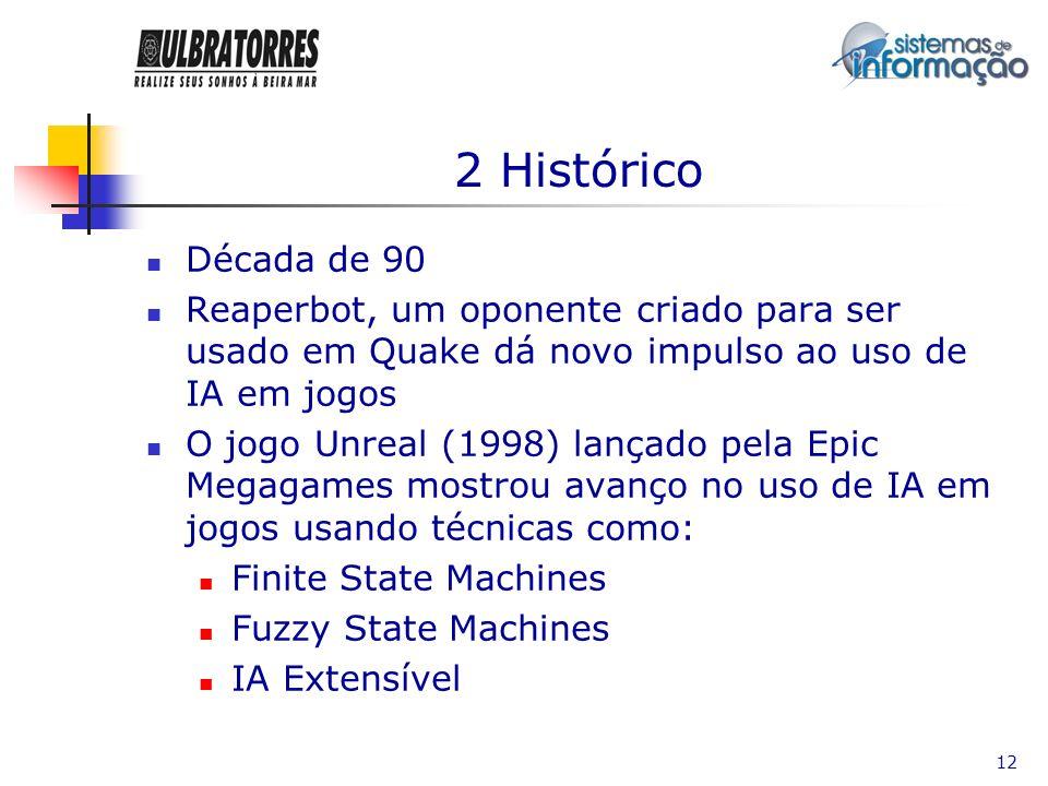 2 HistóricoDécada de 90. Reaperbot, um oponente criado para ser usado em Quake dá novo impulso ao uso de IA em jogos.