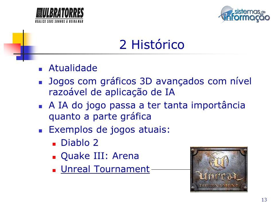 2 HistóricoAtualidade. Jogos com gráficos 3D avançados com nível razoável de aplicação de IA.