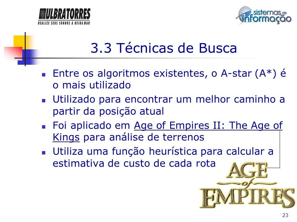 3.3 Técnicas de BuscaEntre os algoritmos existentes, o A-star (A*) é o mais utilizado.