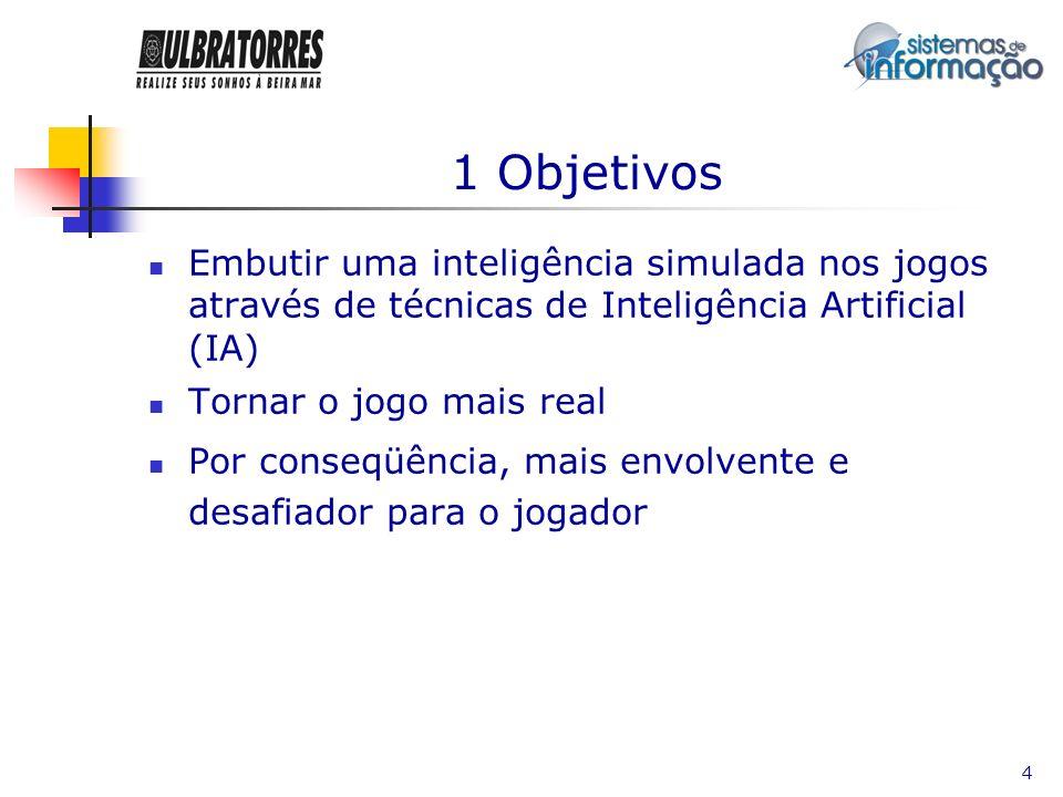 1 ObjetivosEmbutir uma inteligência simulada nos jogos através de técnicas de Inteligência Artificial (IA)