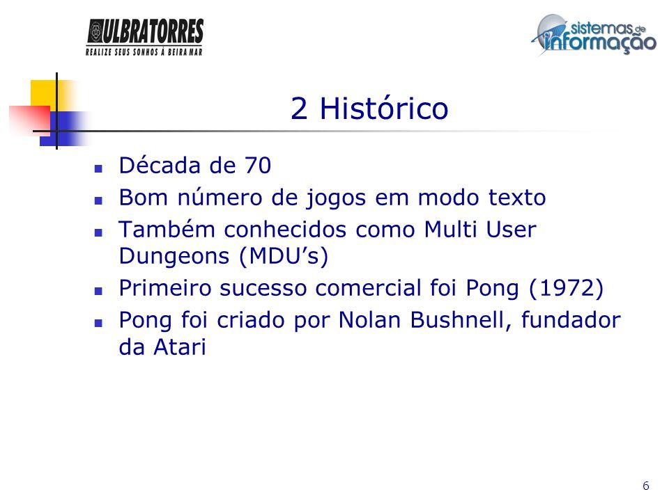 2 Histórico Década de 70 Bom número de jogos em modo texto