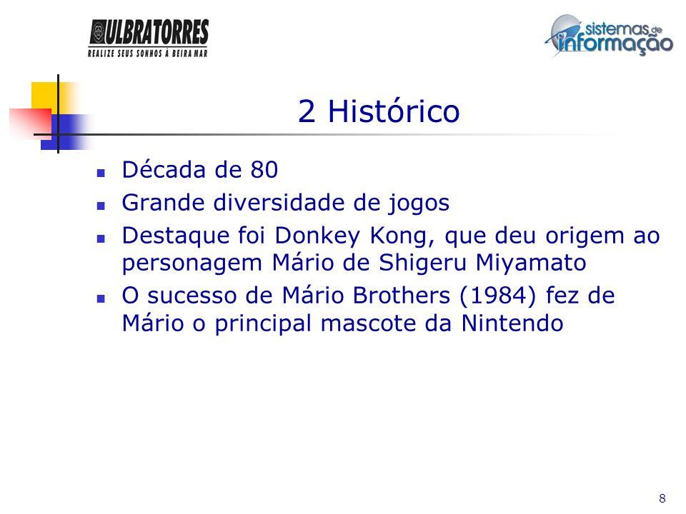2 Histórico Década de 80 Grande diversidade de jogos