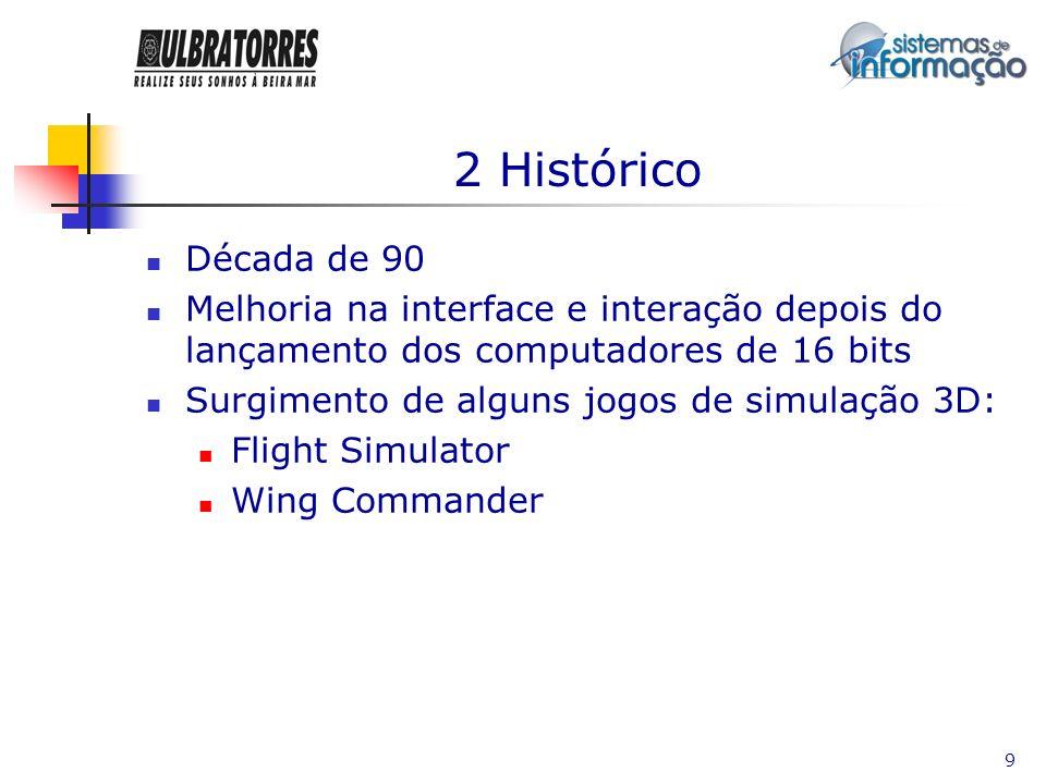 2 Histórico Década de 90. Melhoria na interface e interação depois do lançamento dos computadores de 16 bits.