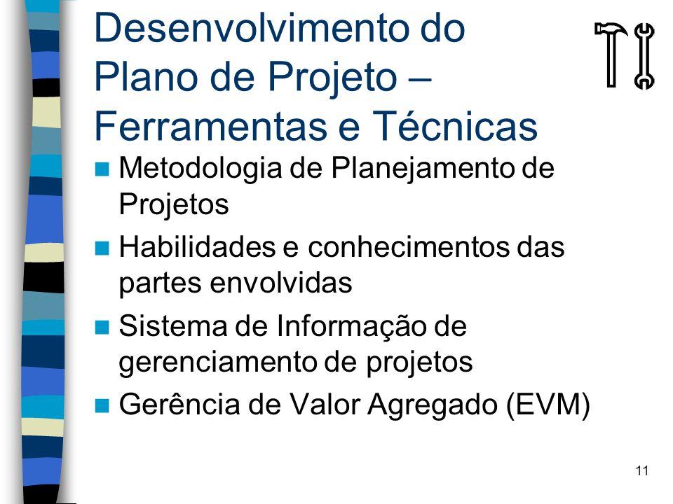 Desenvolvimento do Plano de Projeto – Ferramentas e Técnicas
