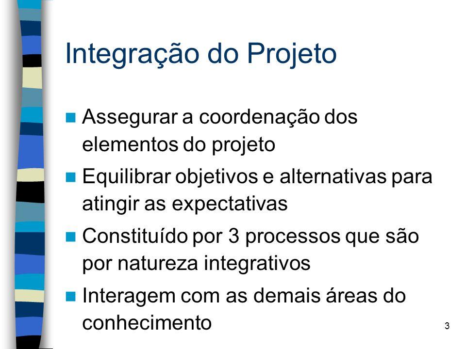 Integração do Projeto Assegurar a coordenação dos elementos do projeto
