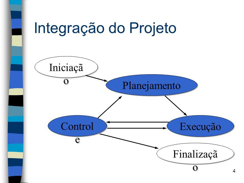 Integração do Projeto Iniciação Planejamento Controle Execução