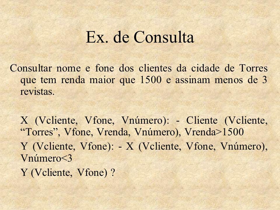 Ex. de ConsultaConsultar nome e fone dos clientes da cidade de Torres que tem renda maior que 1500 e assinam menos de 3 revistas.