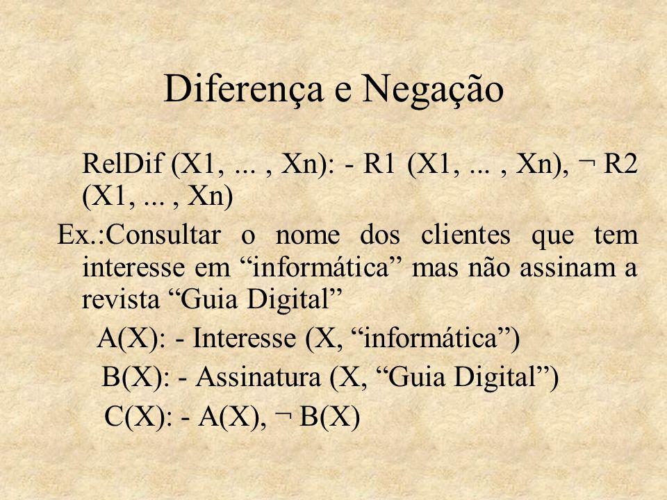 Diferença e NegaçãoRelDif (X1, ... , Xn): - R1 (X1, ... , Xn), ¬ R2 (X1, ... , Xn)