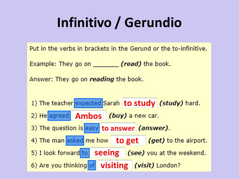 Infinitivo / Gerundio to study Ambos to answer to get seeing visiting