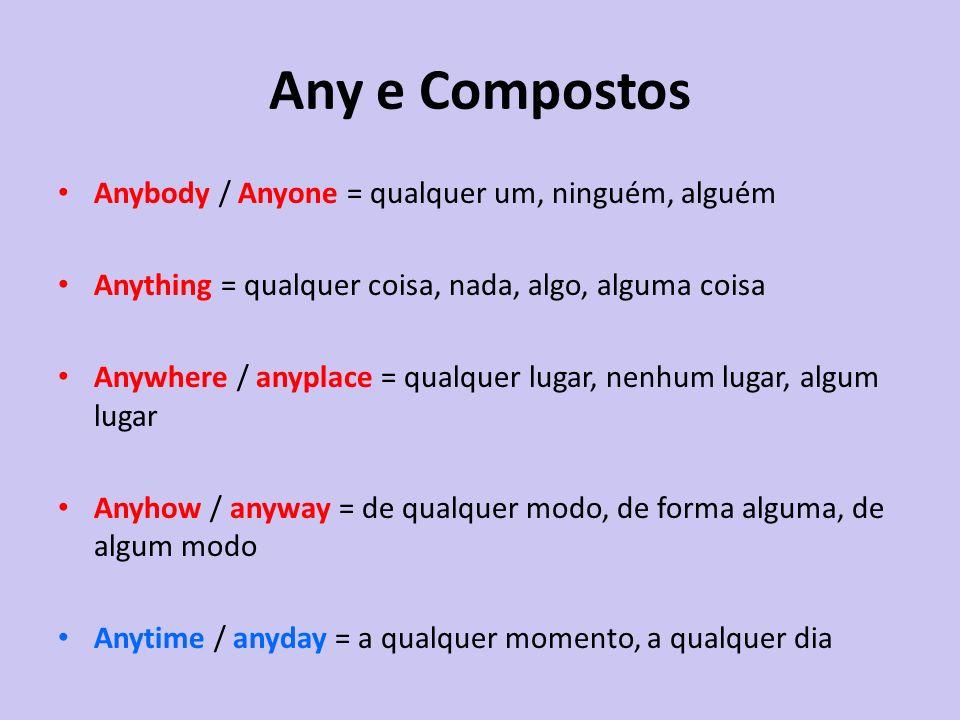 Any e Compostos Anybody / Anyone = qualquer um, ninguém, alguém