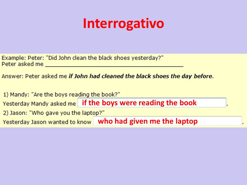 Interrogativo if the boys were reading the book