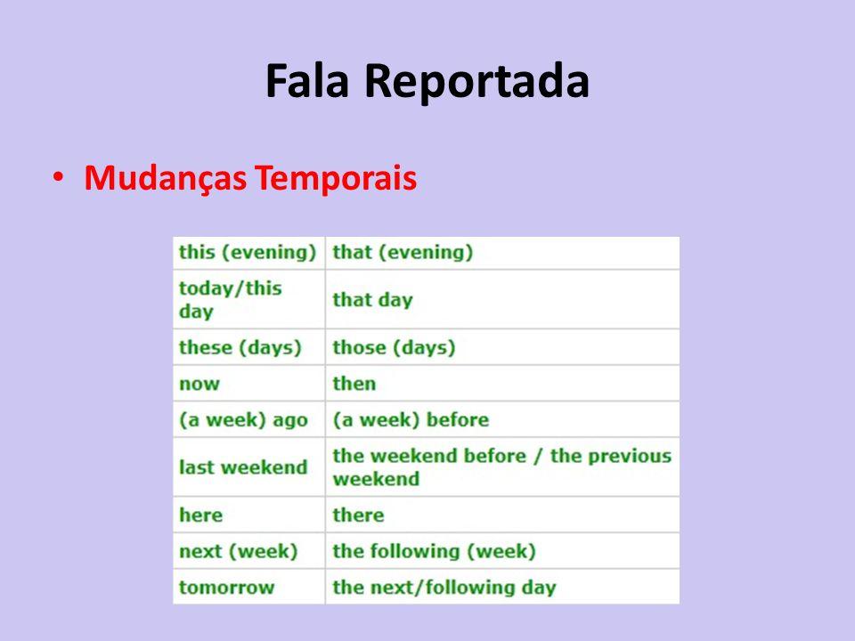 Fala Reportada Mudanças Temporais