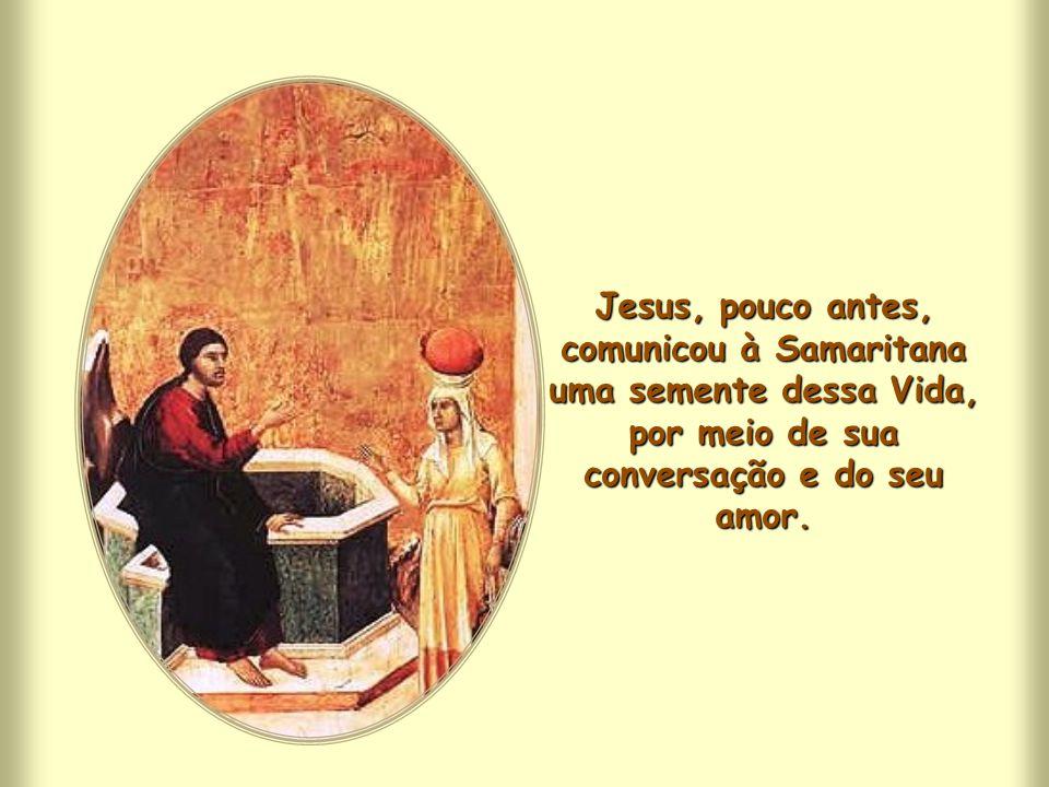 Jesus, pouco antes, comunicou à Samaritana uma semente dessa Vida, por meio de sua conversação e do seu amor.