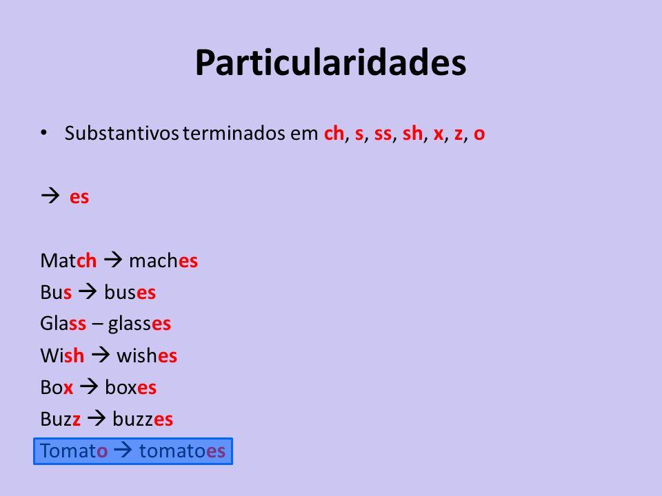 Particularidades Substantivos terminados em ch, s, ss, sh, x, z, o es
