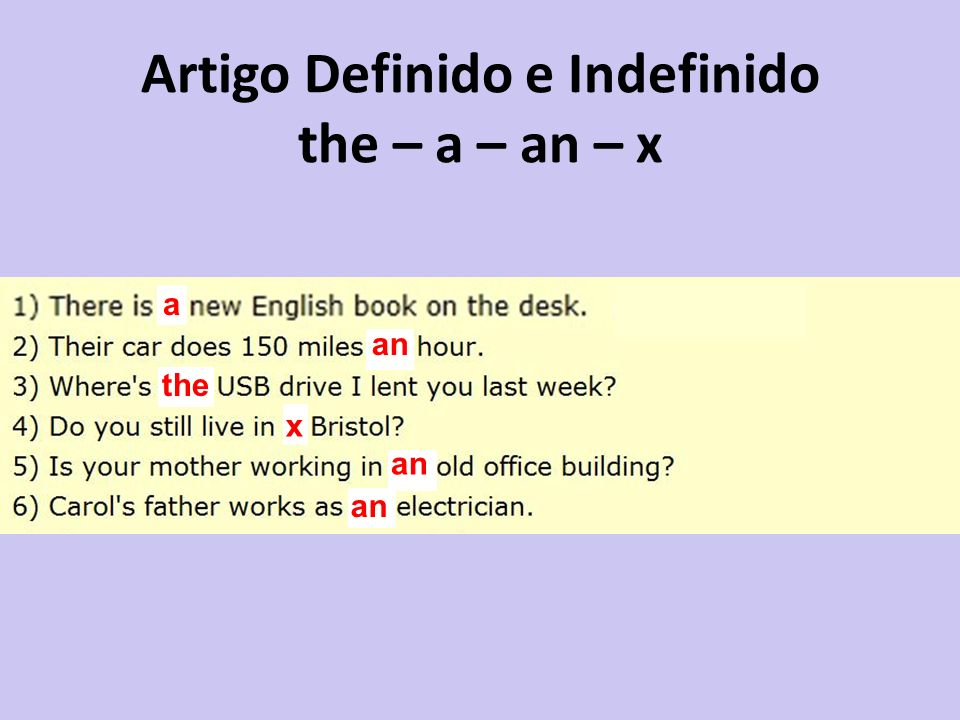 Artigo Definido e Indefinido the – a – an – x