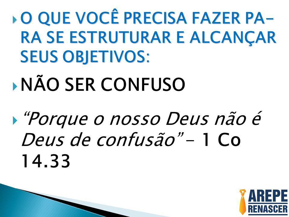 Porque o nosso Deus não é Deus de confusão - 1 Co 14.33