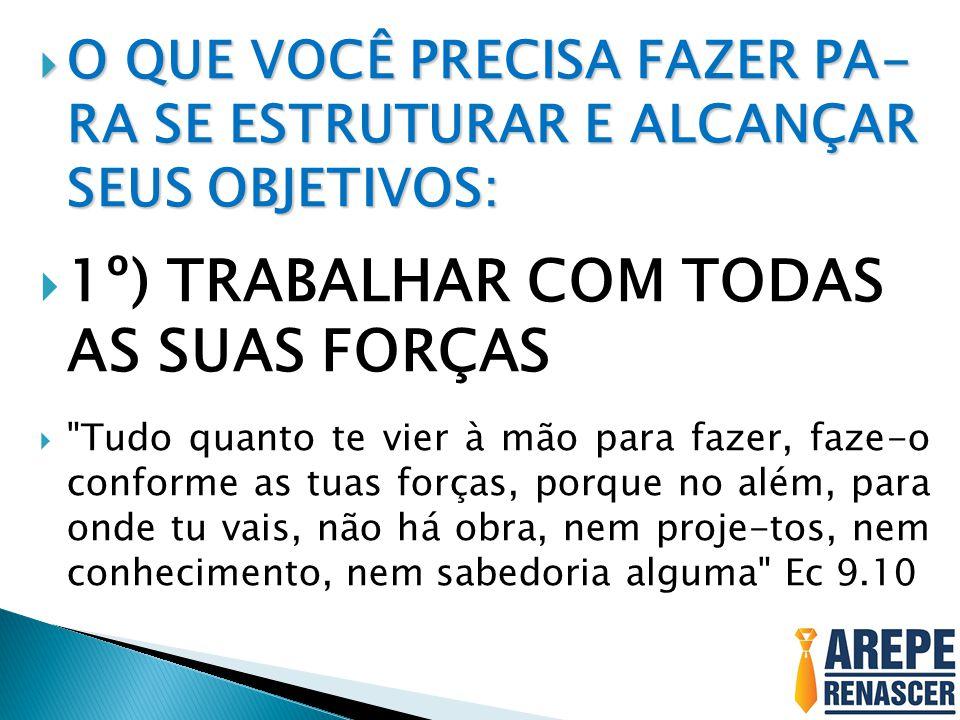 1º) TRABALHAR COM TODAS AS SUAS FORÇAS