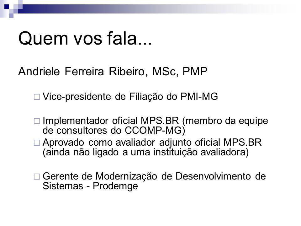 Quem vos fala... Andriele Ferreira Ribeiro, MSc, PMP