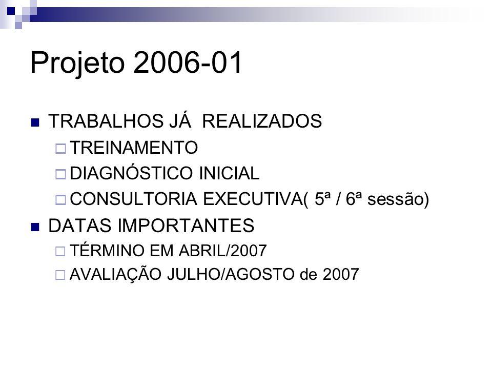 Projeto 2006-01 TRABALHOS JÁ REALIZADOS DATAS IMPORTANTES TREINAMENTO