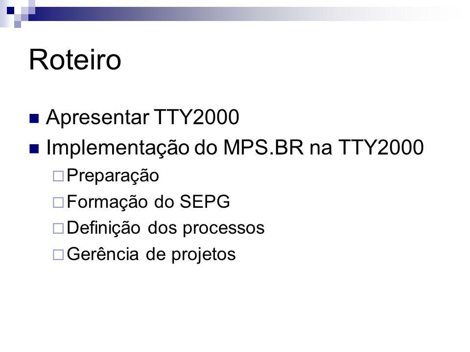 Roteiro Apresentar TTY2000 Implementação do MPS.BR na TTY2000