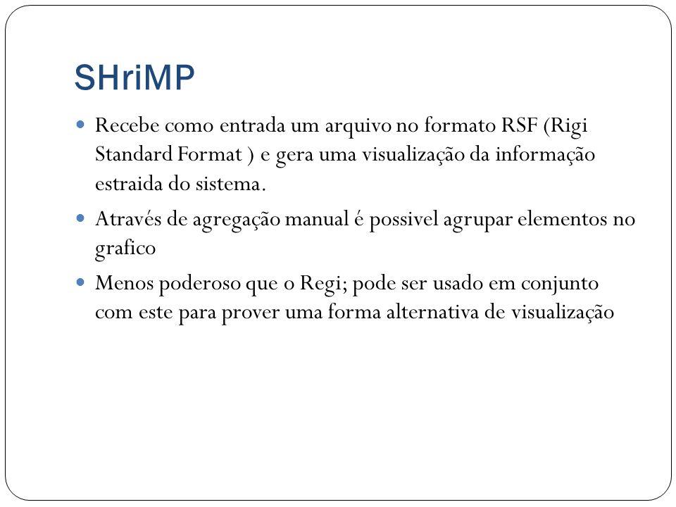 SHriMP Recebe como entrada um arquivo no formato RSF (Rigi Standard Format ) e gera uma visualização da informação estraida do sistema.