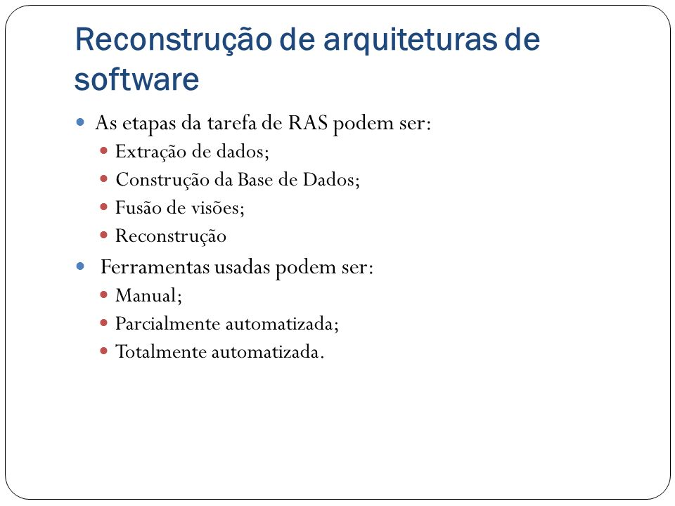 Reconstrução de arquiteturas de software