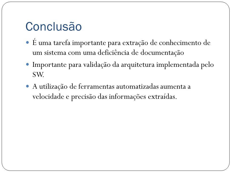 Conclusão É uma tarefa importante para extração de conhecimento de um sistema com uma deficiência de documentação.