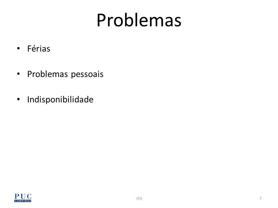Problemas Férias Problemas pessoais Indisponibilidade IRX