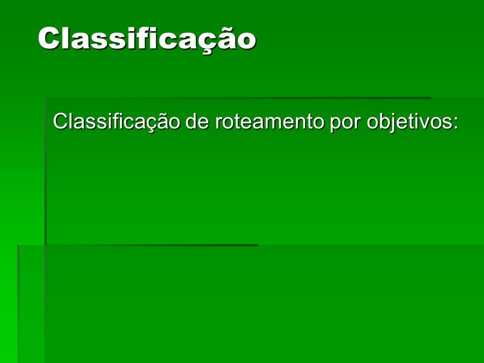 Classificação Classificação de roteamento por objetivos: