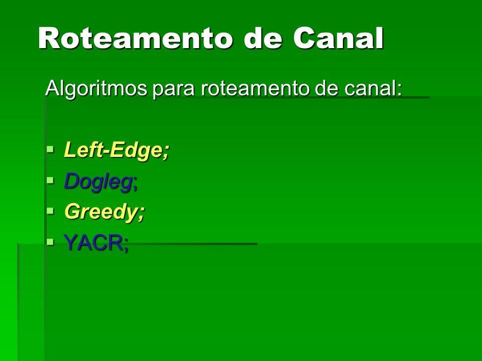 Roteamento de Canal Algoritmos para roteamento de canal: Left-Edge;