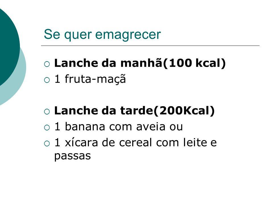Se quer emagrecer Lanche da manhã(100 kcal) 1 fruta-maçã