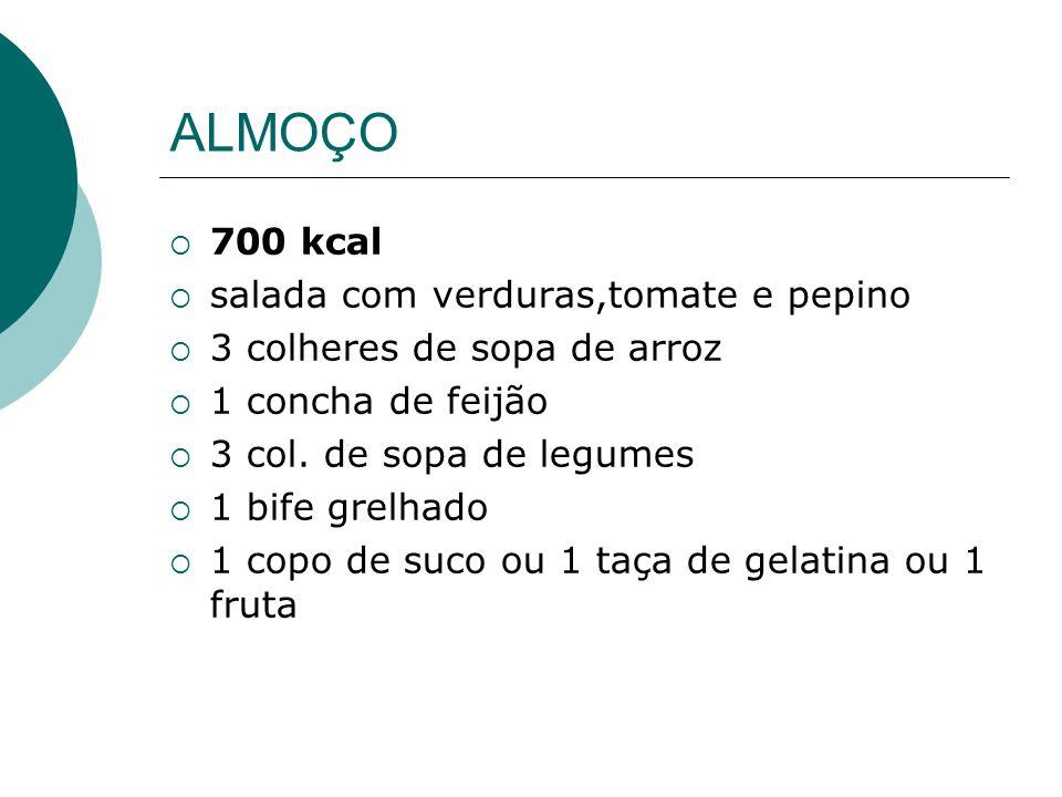 ALMOÇO 700 kcal salada com verduras,tomate e pepino