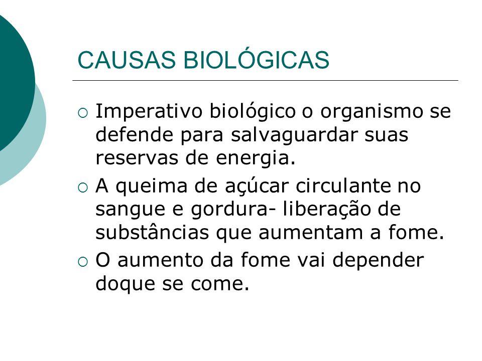 CAUSAS BIOLÓGICAS Imperativo biológico o organismo se defende para salvaguardar suas reservas de energia.