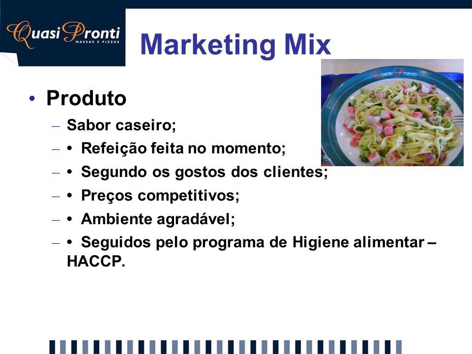 Marketing Mix Produto Sabor caseiro; • Refeição feita no momento;