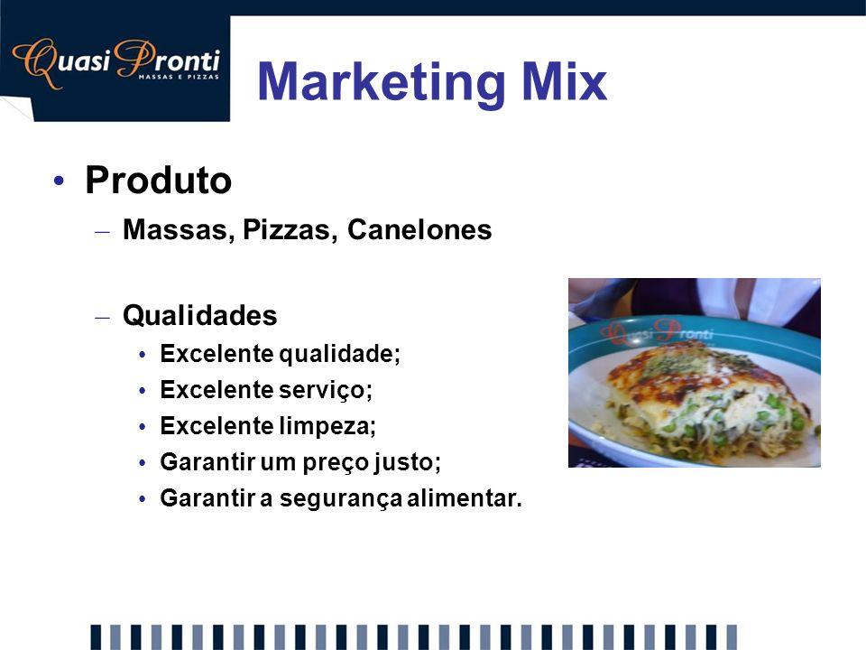Marketing Mix Produto Massas, Pizzas, Canelones Qualidades
