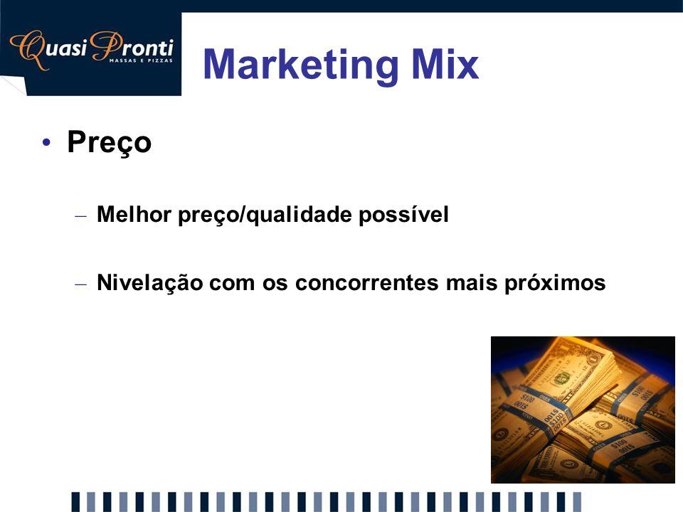 Marketing Mix Preço Melhor preço/qualidade possível